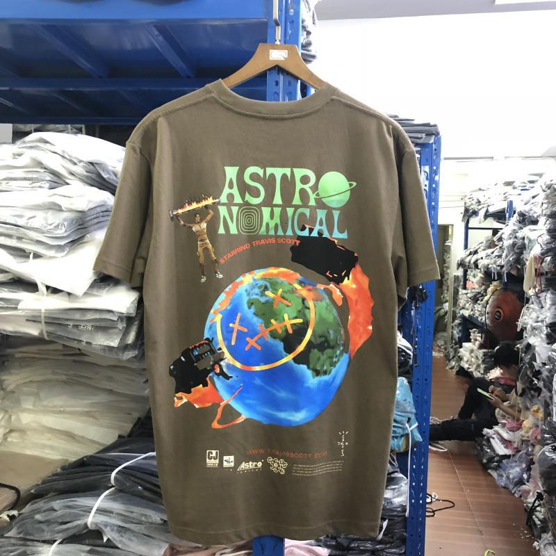 2021 New CamiSeta Travis Scott Astroworld Unisex, Alta Qualidade, Com Jack de Cacto, Гола Редонда, HIP-хоп Goj6