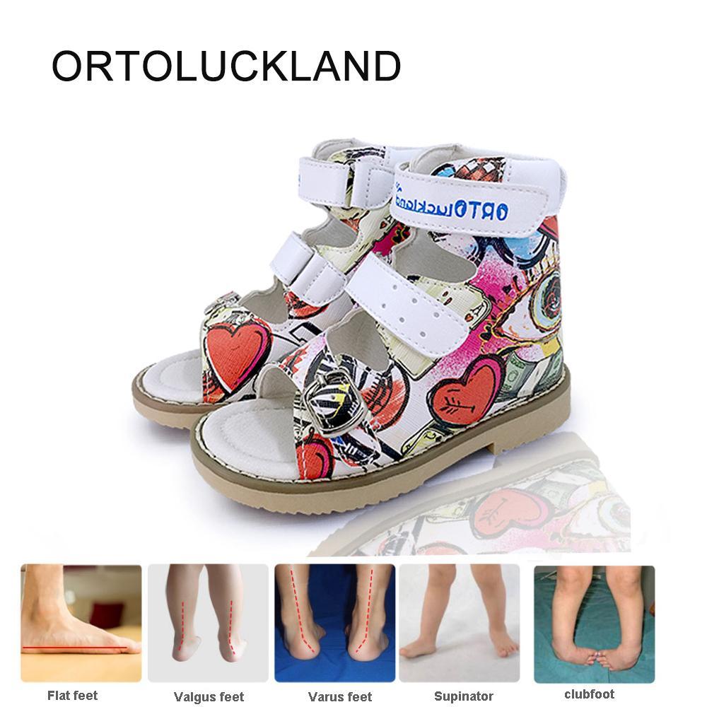 Sandales en cuir orthopédiques pour enfants Open Toe Corrective Arch Support Beautiful Graffiti Chaussures d'été pour enfants garçons et filles 210312