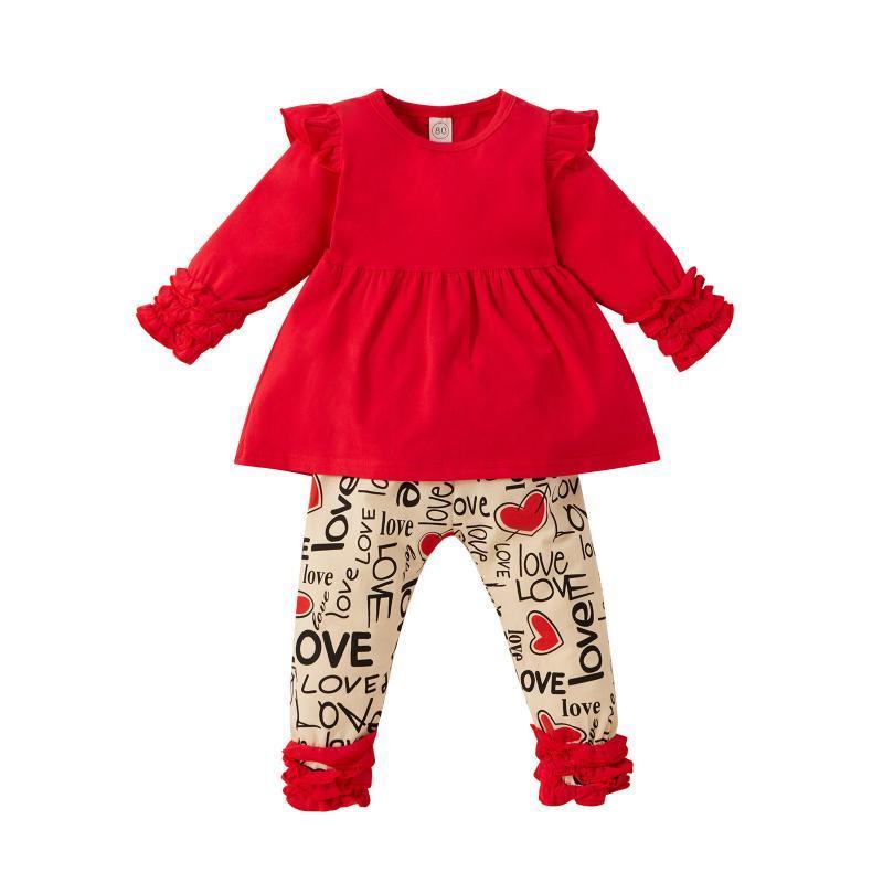 2021 Baby Frühling Herbst Kleidung Kleinkind Baby Mädchen Valentinstag Rüschen Tops + Brief Gedruckte Hosen Outfits Valentine Outfit