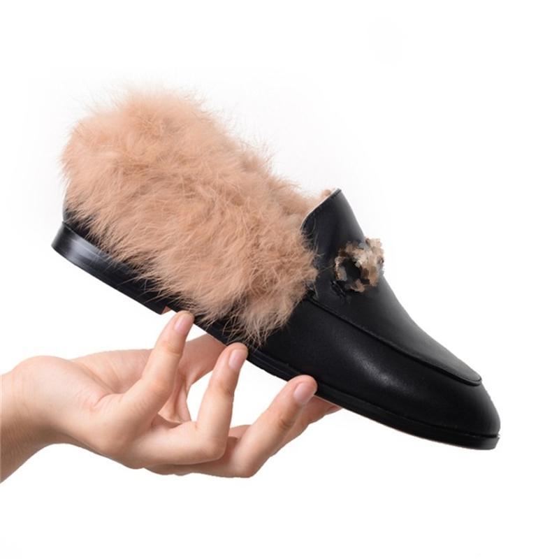 Zapatos de mujer de la marca de lujo Mocasines de piel de cuero real de piel de invierno suave otoño casual hembra zapatos 210302