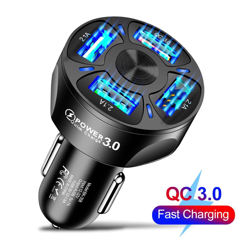 자동차 USB 충전기 7A 48W 4 포트 빠른 충전 QC 3.0 유니버설 빠른 아이폰 삼성 휴대 전화 담배 어댑터에 대 한 빠른 충전