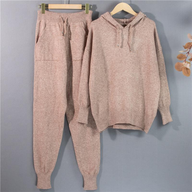 2021 Новый зимний теплый вязаный свитер с капюшоном луча ноги высокие талии брюки досуг костюм