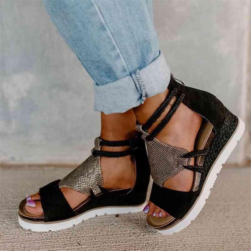 SAGACE SANDALS Womens Wedge Heel Offene Zehen Fisch Mund Außenhandel Römische Stil Sandalen Schuhe Flock Zipper Plus Größe Frauen 210610