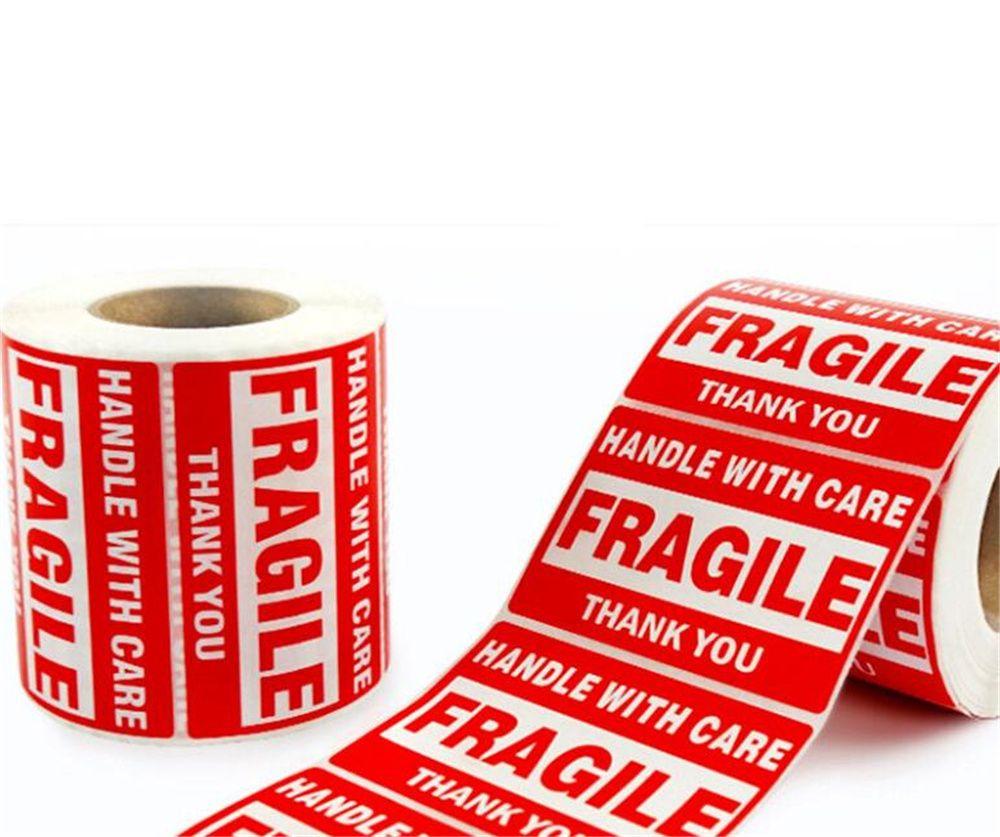 Hot Home festlich 2 '' x 3 '' fragile Aufkleber mit Pflegewarnschifffahrt Etiketten Aufkleber danke Aufkleber 500 Etiketten / Rolle