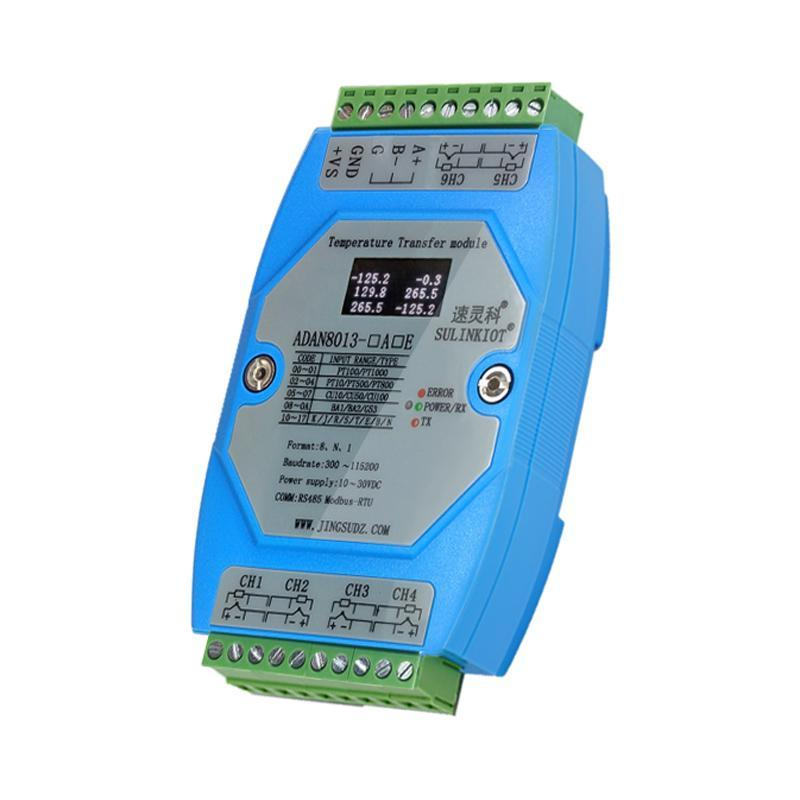 6-Channel Temperature Transmitter PT100 Thermal Resistance K Thermocouple Temperature Module High Precision Acquisition of ADAN8