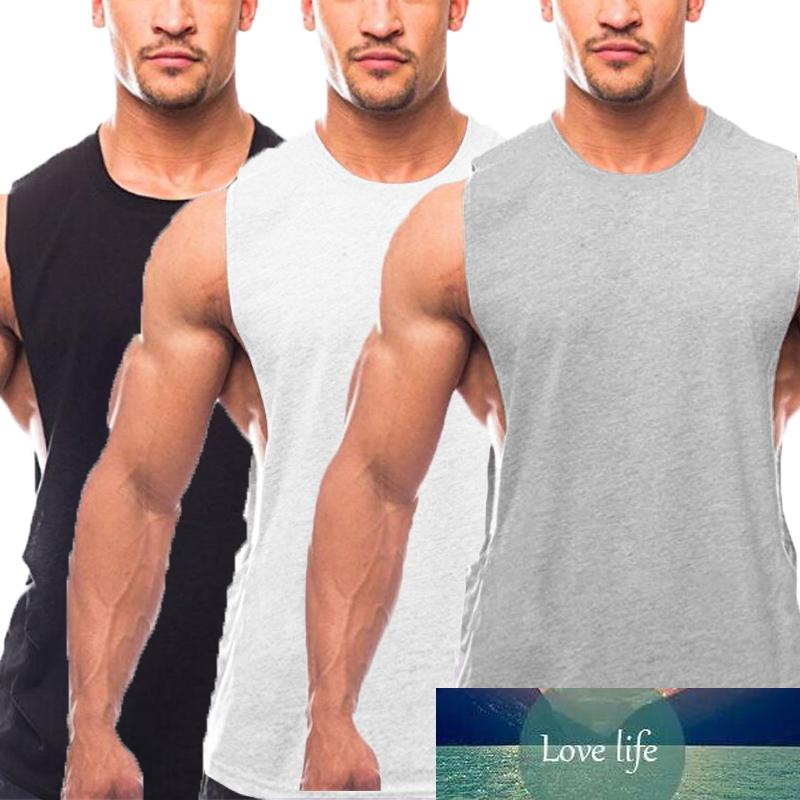 3 Pack Plain Workout Gym Mens Tank Top Muscle Vest Bodybuilding Sleeveless Shirt Cotton Fashion Fitness Clothing Sports Singlets