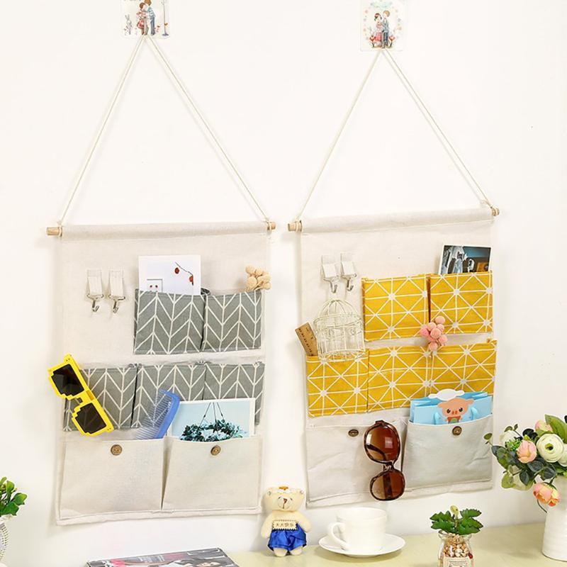 Paniers suspendus Organiseur Boîte de rangement ménagers Conteneur Style de poche Organiser des accessoires pratiques de golet