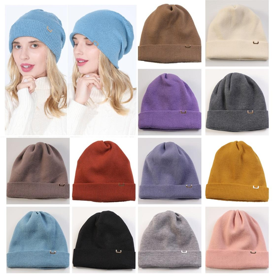 2021 New Knitted hat for female autumn and winter students double thick thermal bonnet hat fashion wool hat