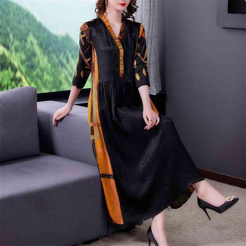 Black Print Maulbeer-Seide Vintage Midi Kleider Frühling Sommer Lose 3XL Plus Size Kleid Frauen Elegante Bodycon Party Vestidos 210603
