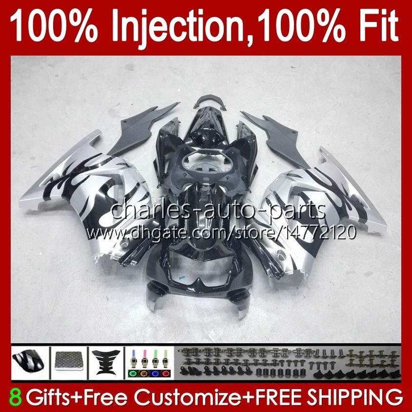 Injectie voor Kawasaki Ninja ZX250R EX250 Silvery Flames 2008 2009 2010 2011 2012 13HC.78 EX250R ZX-250R ZX250 ZX 250R 08 09 10 11 12 Kuip