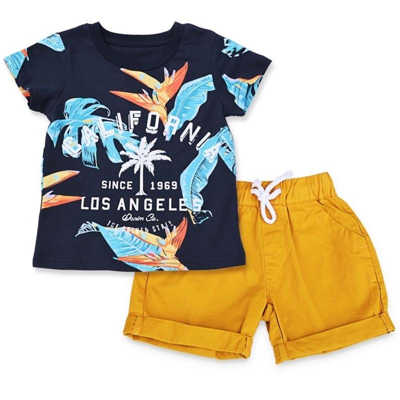 Biniduckling Bebek Erkek Giysileri Setleri Yaz Pamuk Bırakır Baskılı Erkek Giysileri Set Tshirt + Şort Çocuklar Çocuk Giyim Kıyafetleri 210316