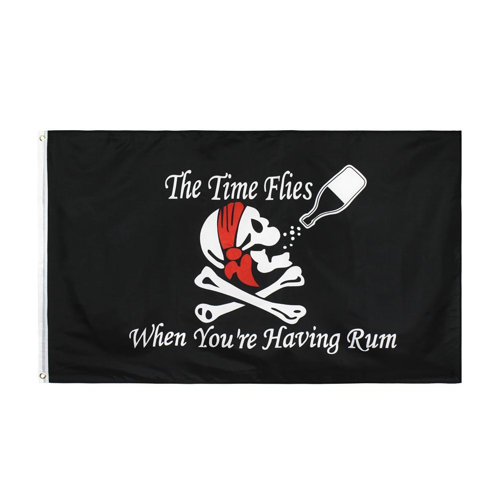 Zaman Sinekleri Rum Bayrağı Büyük 3X5 FT Ayak Korsan Kafatası Içme Bayrakları Banner 90 * 150 cm Polyester Pirinç Grommets ile Ev Bahçe Duvar Tekne Dekor