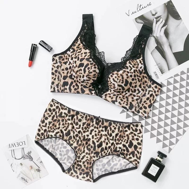 Otoño invierno elegante traje de baño profundo v leopardo impresión sexy ropa interior sin montura reunida sujetador cómodo y transpirable