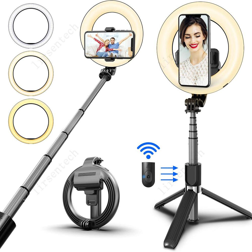 Drahtloser Bluetooth-Selfie-Stick-faltbares Handheld-Remote-Shutter-Stativ mit 5-Zoll-LED-Ring-Fotografie-Licht für Android iOS-freies Schiff