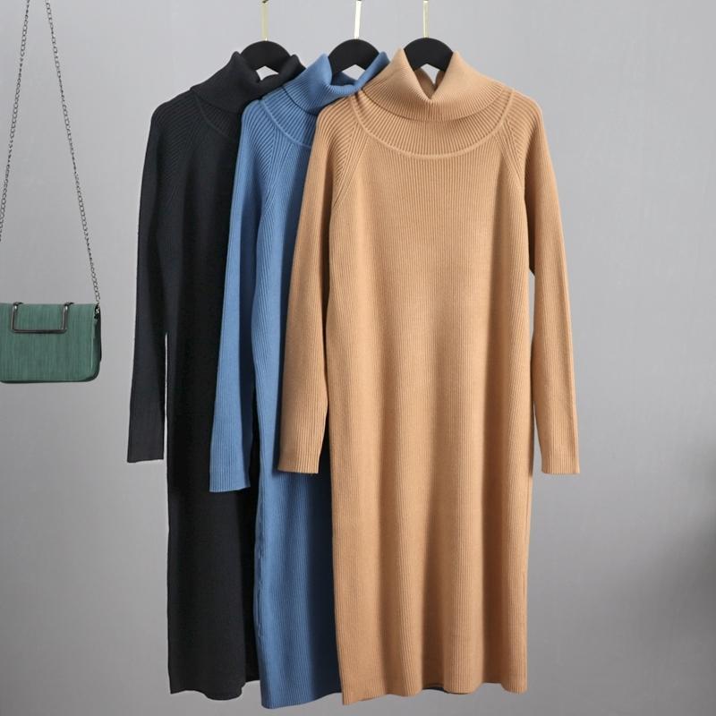 Gigogou Casual Gevşek Uzun Örgü Kadın Midi Elbise Sonbahar Kış Balıkçı Yaka Kazak Elbiseler Kalın Sıcak Noel Partisi Elbise 210303