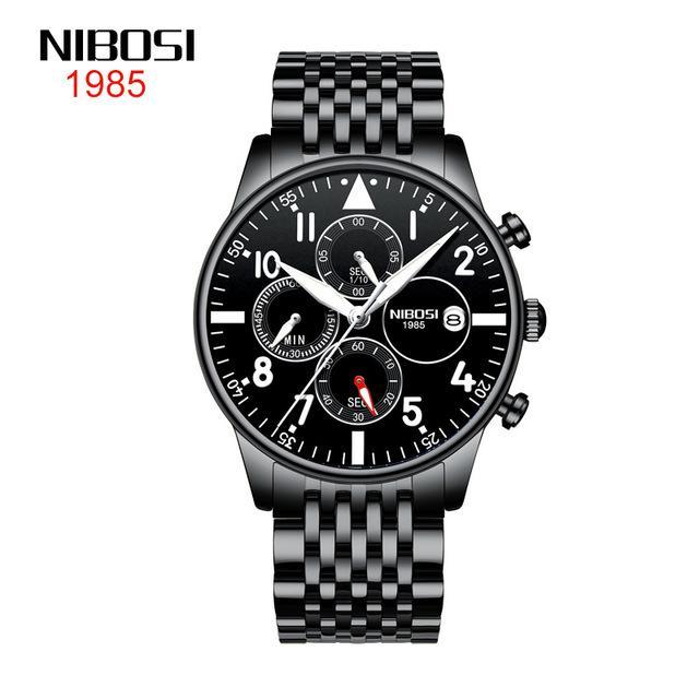 7 стиль Nibosi часы мужские 2368 бизнес мода мужские часы водонепроницаемые многофункциональные кварцевые часы 42 мм черный