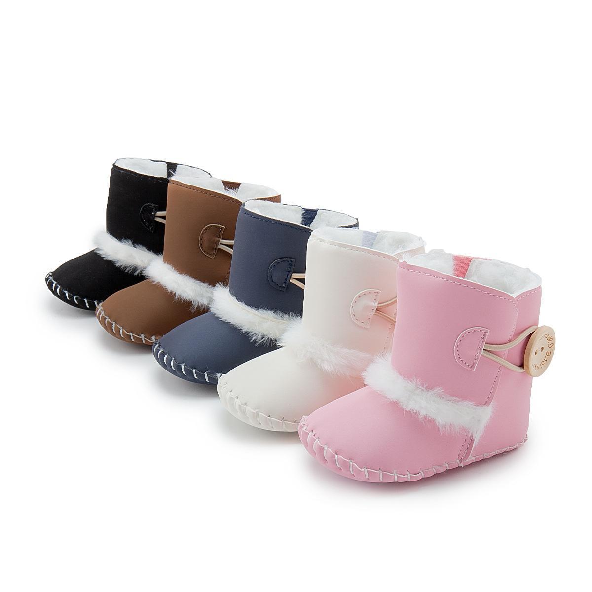 Ny Baby First Walker Shoes Girl's Soft Sole Fleece Boots Spädbarn Vinter Håll Varma Skor