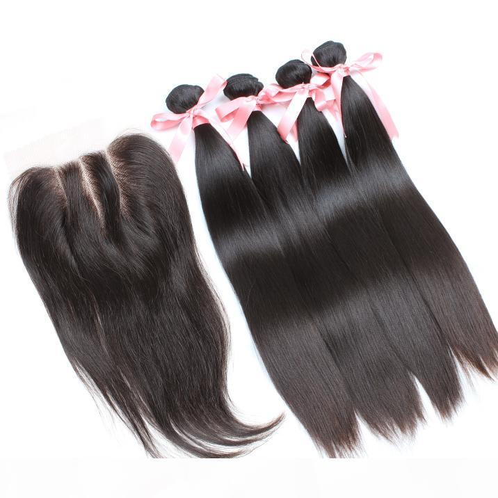 Greatremy? 8A Wholehead Top Closure with 4pcs Hair Bundles Unprocessed Brazilian Human Hair Weaves Silky Straight Virgin Hair Extensions