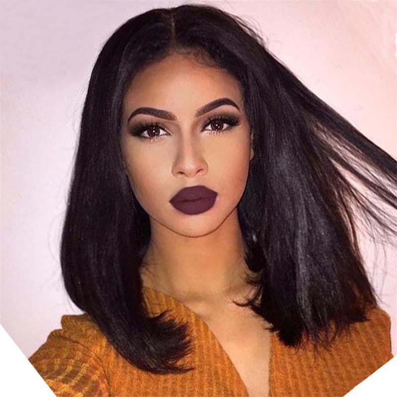 Бразильские прямые короткие волосы для волос для черных женщин 150 плотность бразильские кружева передние человеческие волосы боба парики с детскими волосами