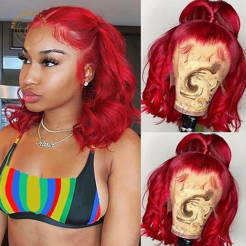 Dantel Peruk Kırmızı Bob Frontal Sarı 99J Bordo Dalgalı Kıvırcık 13x4 Ön Peruk Tam Yoğunluk Renkli İnsan Saç Kapatma