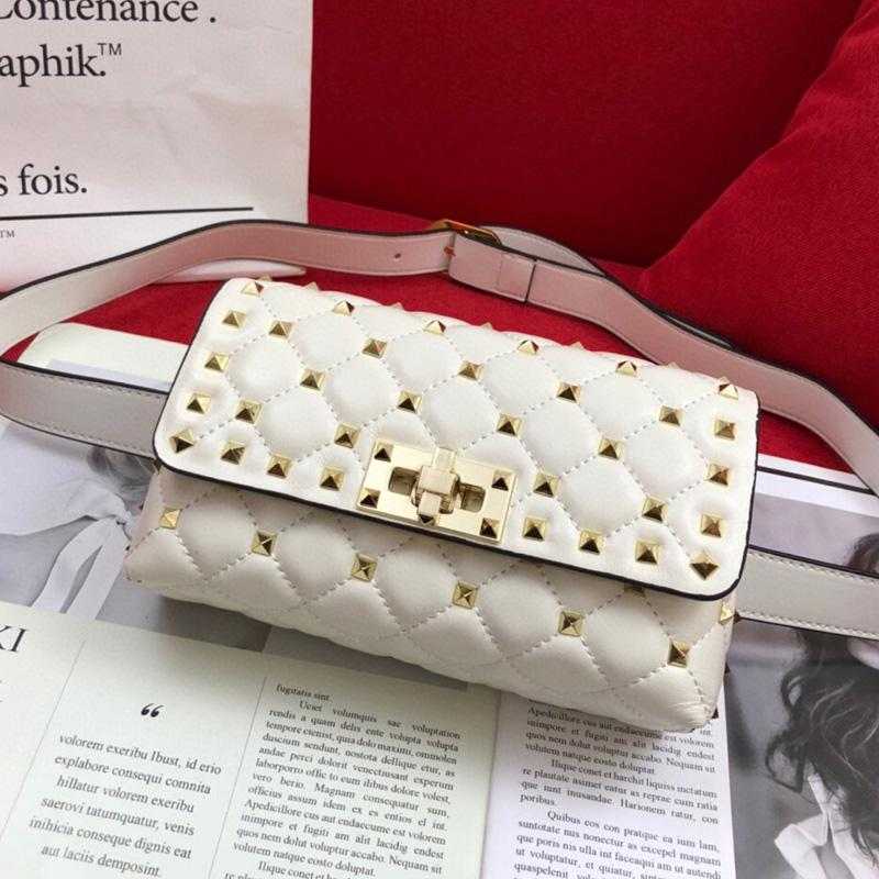 Stud Crossbody Bags Spike Waist Chest Bag Women Rivet Handbag Fashion Letter Sheepskin Genuine Leather Purse High Quality Bumbag