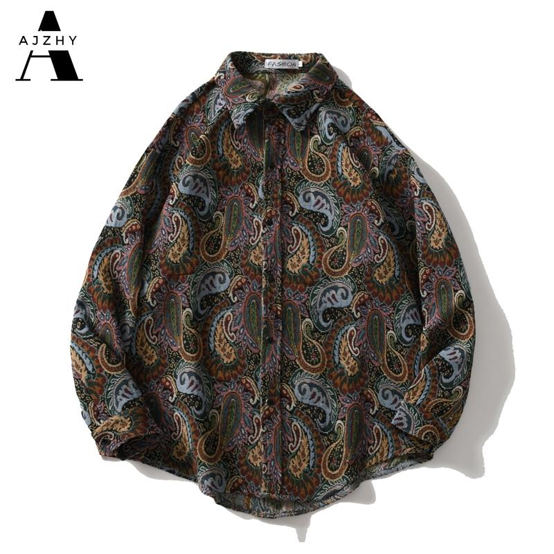 Ajzhy Camisa Vintage Casacos Mens Manga Longa Botão Up Solta Oversize Inverno Casaco Casual Moda Harajuku Hip Hop Roupas 210310