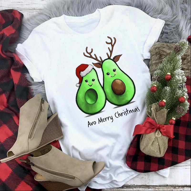 Avo Merry Womens Tops Weihnachten T-shirt Mode Frauen T-shirt Kawaii Tee Weibliche Jahr Weihnachten Kurzarm