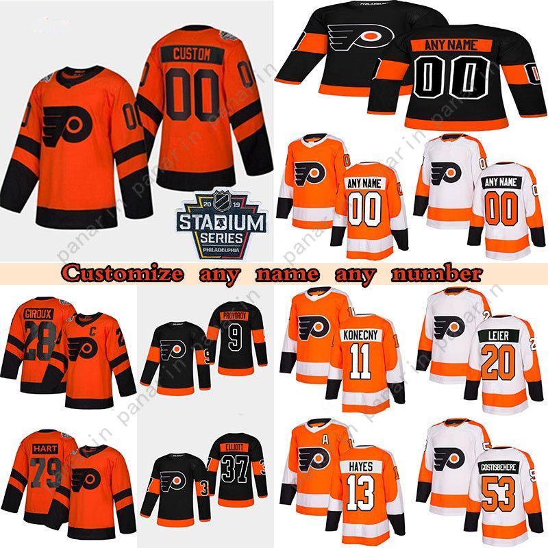 Personalizado Philadelphia Flyers Hoskeys Jersey 9 Ivan provoradoov 13 Kevin Hayes 28 Claude Giroux 11 Travis KoneCny Qualquer número e nome