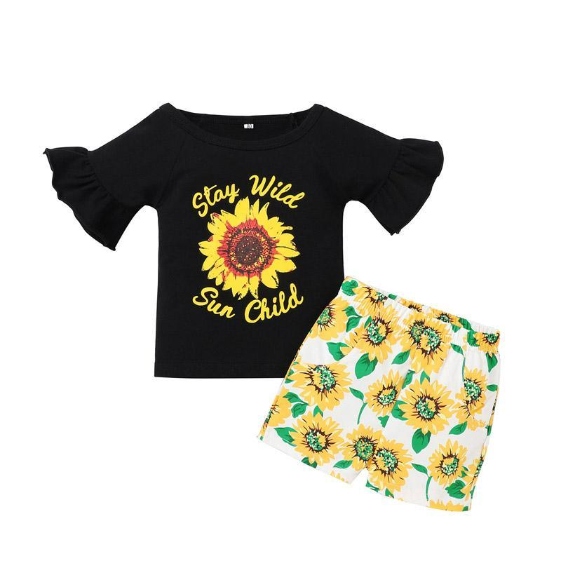 Kids Girls Floral Outfits Sunflwer Printed Tops Toddler Baby Flared Sleeves T-Shirts Elastic Pocket Shorts Kids Leisure Clothes
