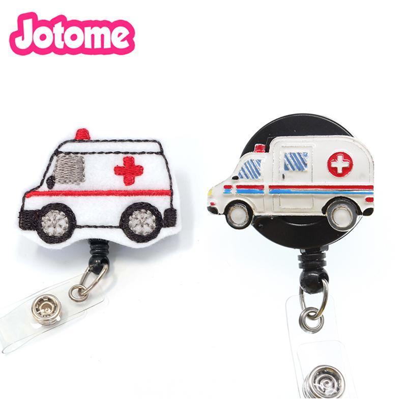 Pins, Brooches 100pcs/lot Emt Styles Alloy Enamel/Felt Handmade Knitting Ambulance /nursing Retractable Id Badge Holder Reel Clip
