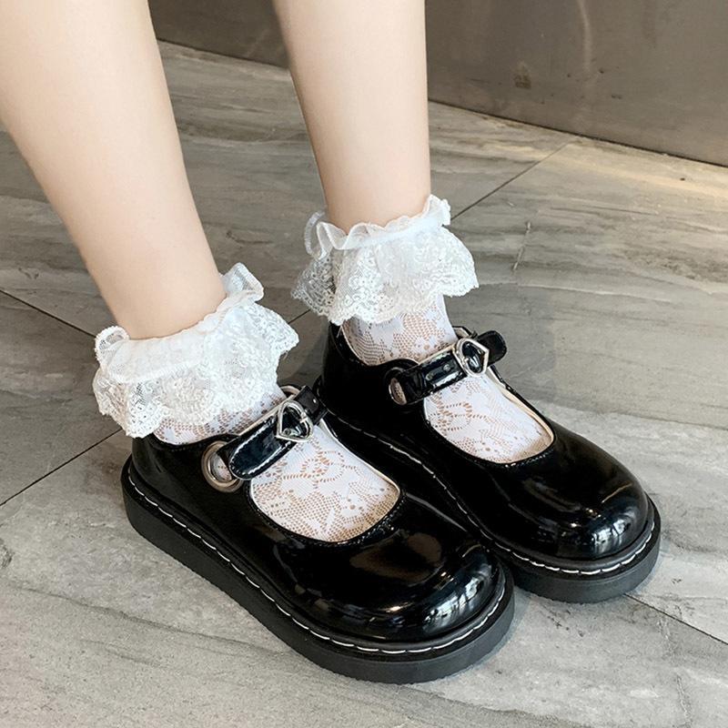 Bahar Güz Kızlar Lolita Patent Deri Kadın Mary Janes Platformu Kadın Roundtoe Bayanlar Siyah Ayakkabı MKI89 84UW
