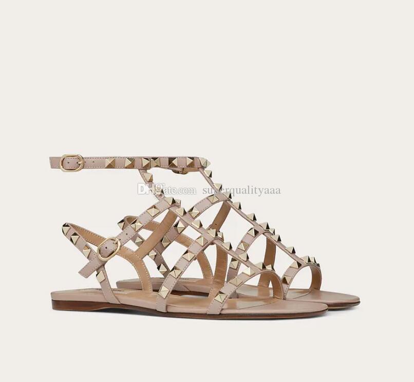 Yaz moda rock damızlık düz buzağı derisi deri kadın sandalet kayış sandalias gladyatör sandalet ile açık rahat plaj daireler toptan