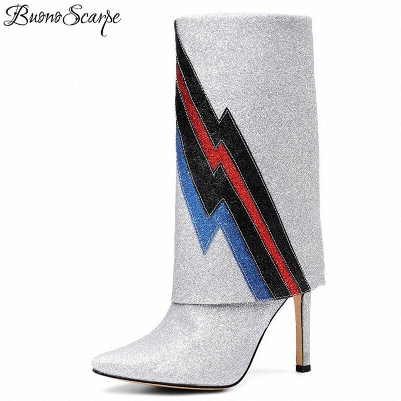 BUONOSCARPE 2018 Nuevo Bling Bling Boots Mid becerro puntiagudo Toe High Heel High Botas Female Rayado Color Royal Tacones cortos Botas F09P #