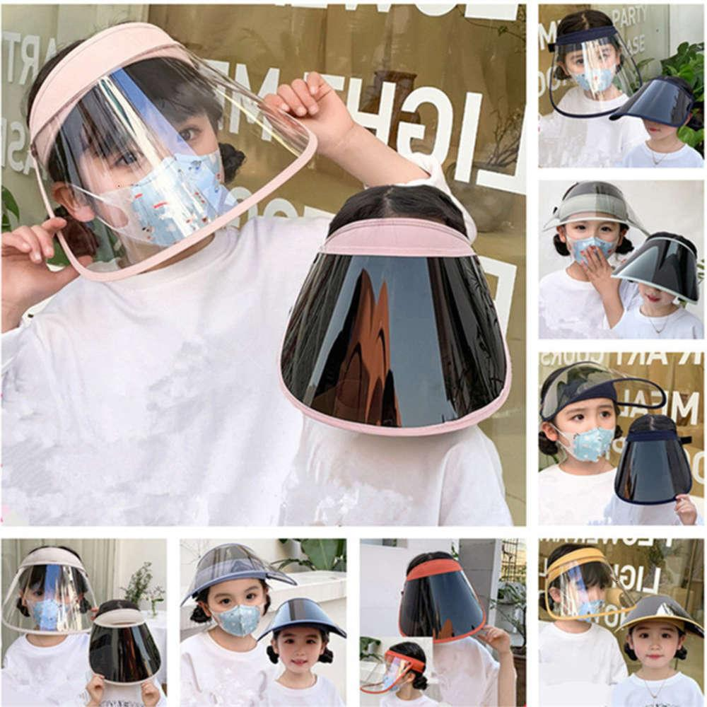 Kids Protective Full Face Mask Dustproof UV-proof Face Shield Summer Transparent Boys Girls Anti-droplet Masks Elastic Fashion Sun Hats INS