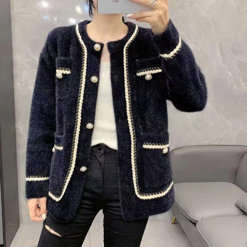 밍크 모피 스웨터 코트, 슈퍼 두꺼운 스웨터 코트, 밍크 패브릭 느낌 좋은, 특히 따뜻하고, 맞춤형 버튼 및 골드 리본 도둑 절묘한