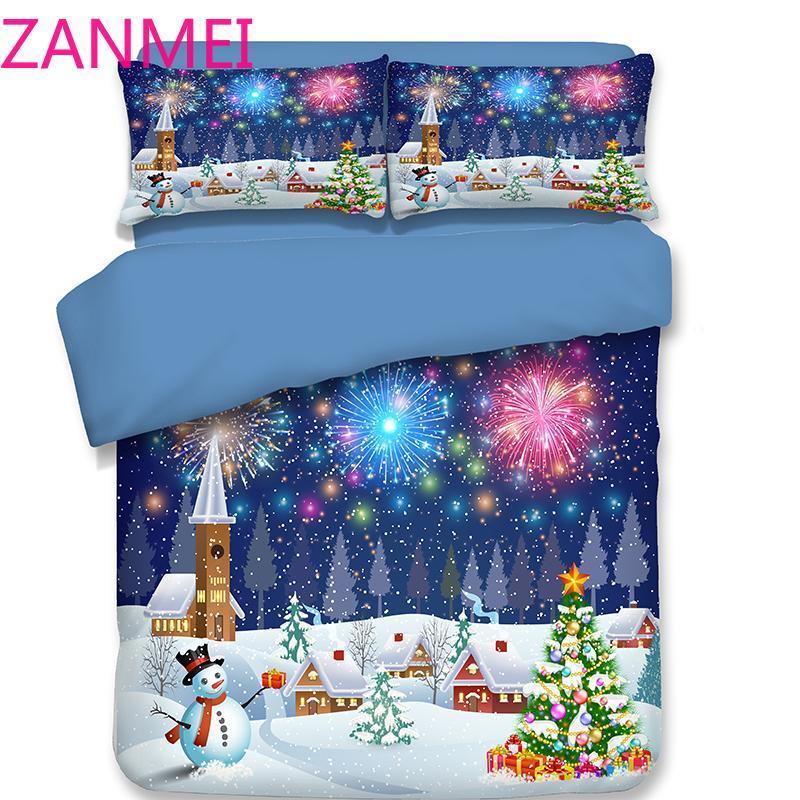 Wohnkultur Weihnachtsgeschenk Duvet Cover Set USA Königin King Size 3D Cartoon Schneemann Santa Claus Deer Drucken Bettwäsche Bettwäsche Bettwäsche