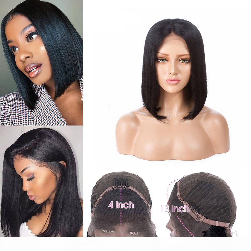 13x4 Bob парик перуанский прямой короткие кружевные фронт человеческие волосы парики необработанные уха на ушные кружевные прямые боб парики
