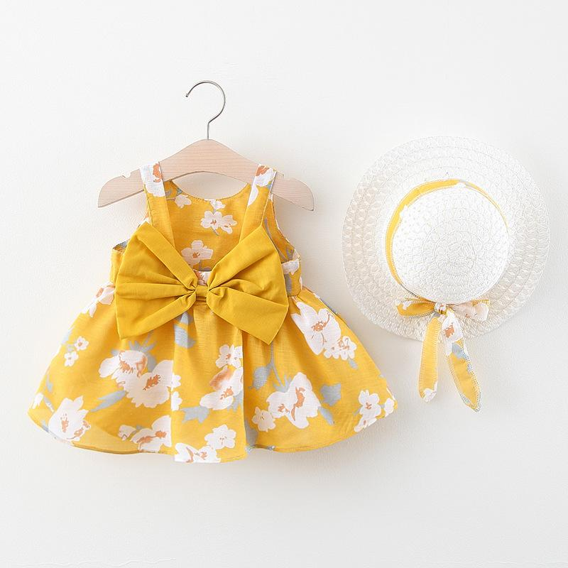 Baby Girls Clothes Flower Daisy Printed Dress Sleeveless Bows Infant Princess Skirt Toddler Designer Clothes Baby Clothing 5 Colors BT6432