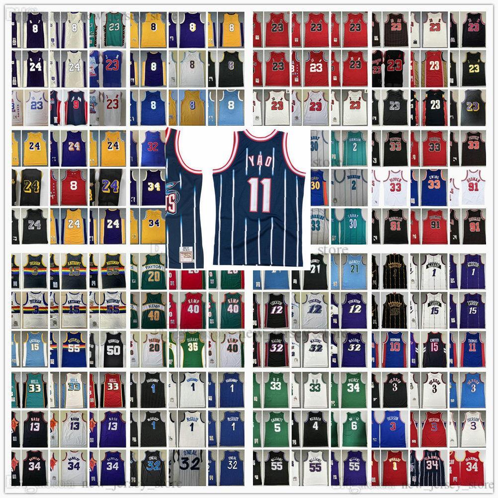Mitchellness Retro genähte Basketball-Trikots Iverson Pippen Rodman McGrady Anthony Garnett Malone Mutombo Bibby Stockton Kemp Payton Barkley Nash Rose Allen