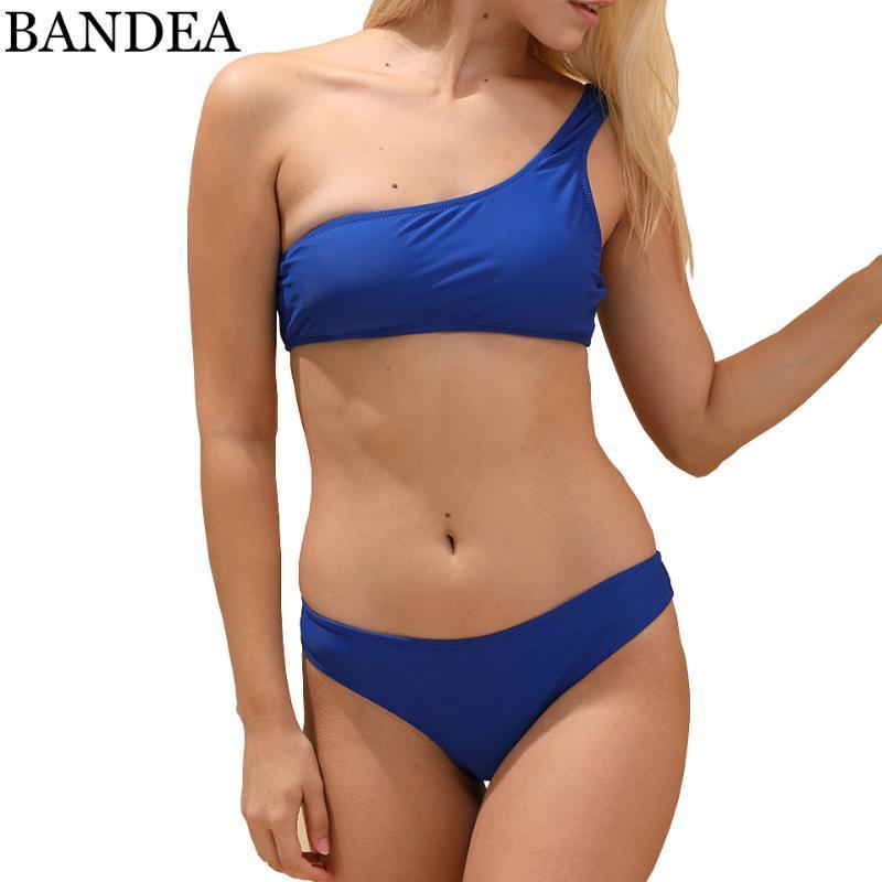 Mulheres Swimwear Bandaa 2021 Um ombro Bikini Mulheres Blue Swimsuit Push Up Bathing Suit Maillot de Baquini
