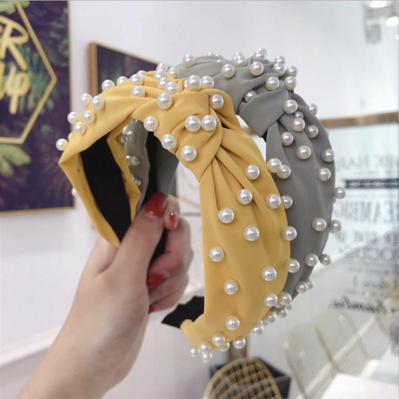 Party Sombreros Moda Accesorios para el cabello Mujeres Tela Color sólido Diadema llena de cuentas y banda de ala ancha anudada Girl Wild Band