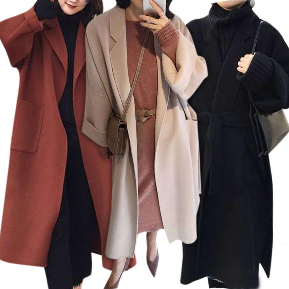 Дизайнерские и корейские двойные осенью осень персонал кашемировая ткань зимняя женская одежда 2019 свободно над коленом длинное кружева вверх твид пальто женщин
