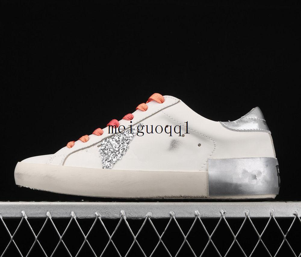 Italienische Marke Star Dan Schuhe Goldene Turnschuhe Klassische weiße distressed Dirty Shoe Designer Damen Freizeitschuhe # G33MS590 Original Box