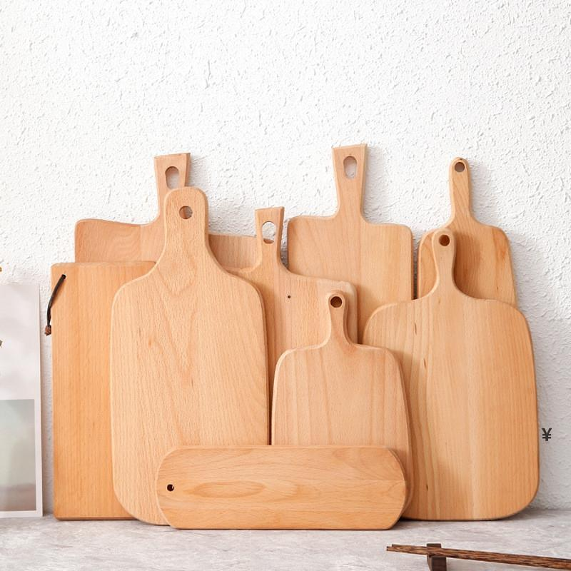 خشب الزان قطع الخشب الشفاء مع مقبض سميكة تقطيع كتلة سلس والشركة تقطيع الخشب الصلب لصحن خبز المطبخ HWA3635