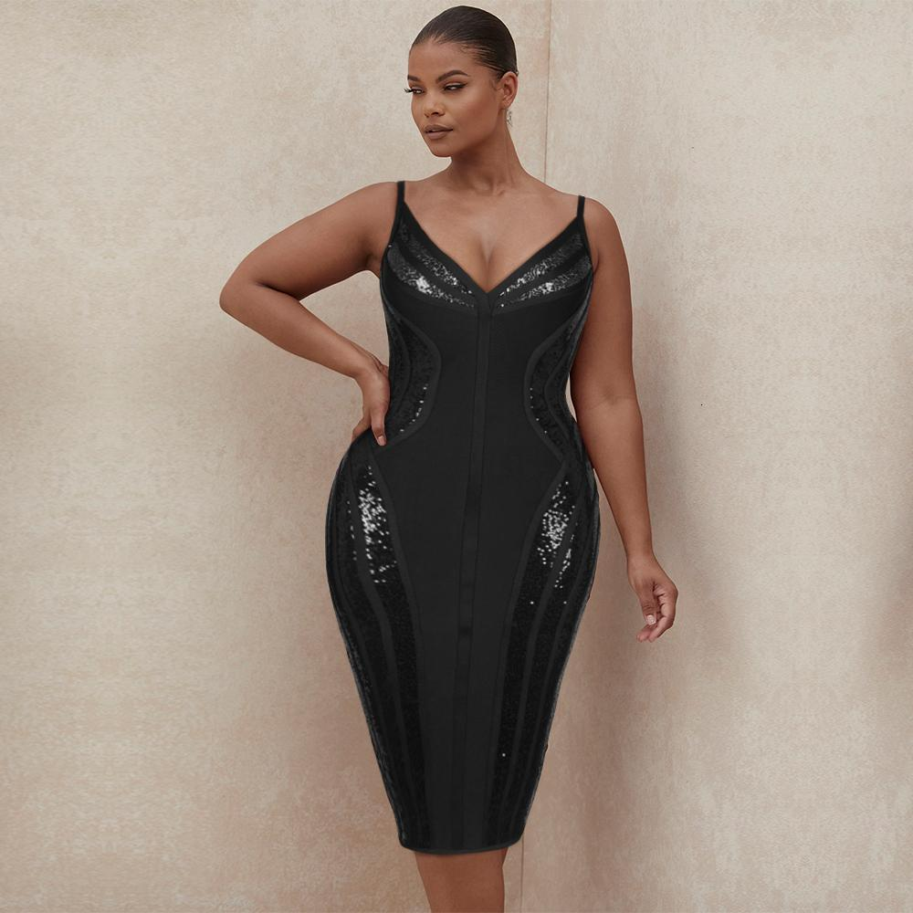 Artı Boyutu Bodycon Bandaj Elbiseler Seksi Pullu Siyah Kadınlar XL 2XL 3XL Doğum Günü Gece Kulübü Parti Elbise Düğün Maxi