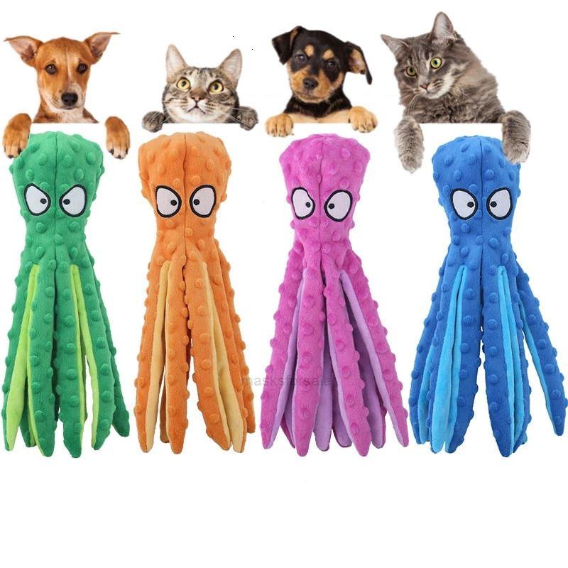 الساقين أفخم 8 4 ألوان محشوة لينة الأخطبوط pet لعبة عض مع الصوت للكلاب والقط عيد الميلاد utenciles 7iyf