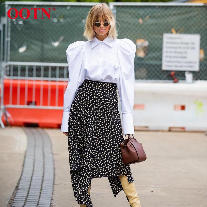OOTN Elegante Bianco a maniche a sospensione a soffio Blusa Donne Camicie Ufficio Lady Ladies Lavoro Abbigliamento Abbassa il colletto Top e camicette Femmina 210301