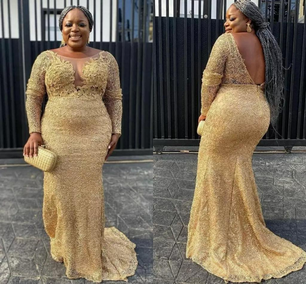 Arabic african Women Gold Lace Special Occasion Prom Dresses Plus Size Long Sleeve Boat Neckline V Open Back Formal Evening Dress