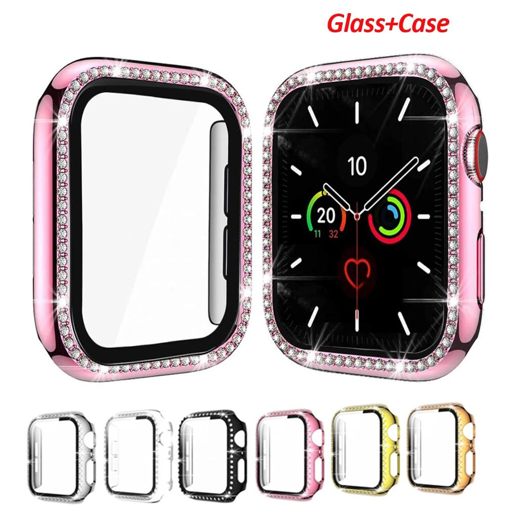 Diamond iWatch Glass Protective Case For Apple Watch Cover Serie 6 SE 5 4 321 Screen Protector Accessories