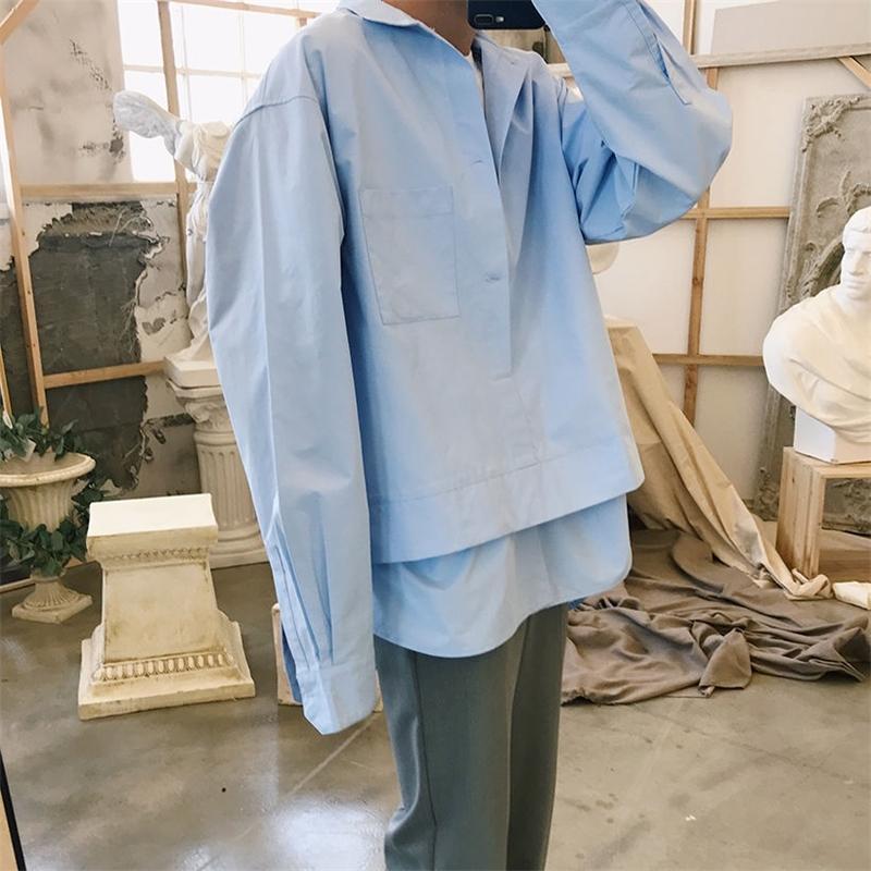 Primavera e outono nova juventude popular personalidade solta cor sólida gola de manga comprida camisa moda casual top m-xl 210310